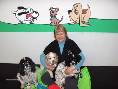 Sandi with Domino, Houston and Checkers at Silver Paws Dog Daycare & Training in Spruce Grove, Alberta, Canada